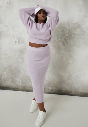 Missguided Plus Size Lilac Co Ord Knit Midaxi Skirt