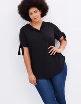 Collarless Cap Sleeve Shirt