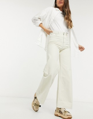Weekday Ace organic cotton wide leg jeans in tinted ecru