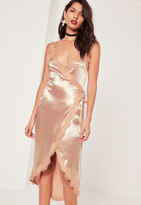 Missguided Lace Wrap Satin Cami Midi Dress Pink