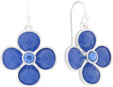 Liz Claiborne Flower Drop Blue & Silver-Tone Earrings