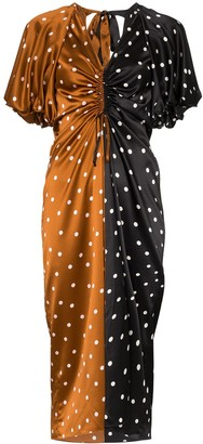 Lee Mathews two-tone polka-dot silk dress