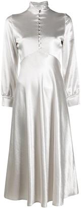 Roseanna Bias-Cut Buttoned Satin Dress