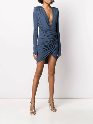 Petrol Blue Ruched Mini Dress