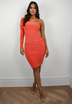 Missguided Orange Slinky Ruched One Shoulder Cut Out Mini Dress