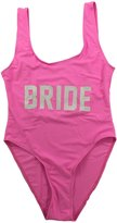 Onlybaby Women's Letter Print BRIDE Backless One Piece Swimsuits Small