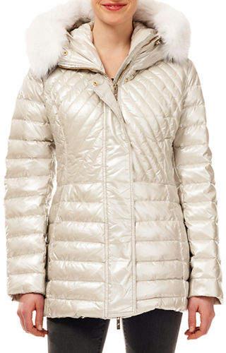 Gorski Zip-Front Quilted Puffer Apres-Ski Jacket w/ Detachable Fox Hood Trim