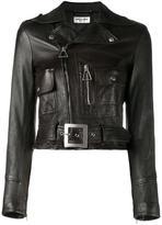 Saint Laurent cropped biker jacket - women - Cotton/Lamb Skin/Cupro - 34