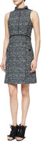 Proenza Schouler Sleeveless Stand-Collar Tweed Dress