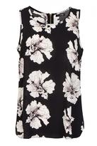 Quiz Black And Cream Flower Print Vest Top
