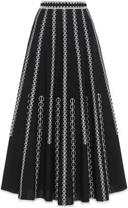Andrew Gn Embroidered Cotton Full Midi Skirt