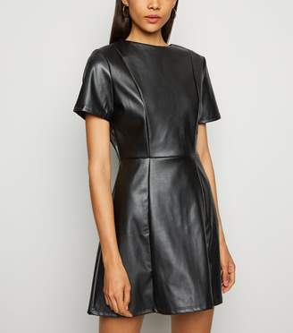 New Look Innocence Leather-Look Skater Dress