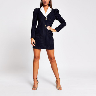 River Island Navy pinstripe long sleeve tux mini dress