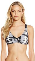 Lucky Brand Women's Half-Moon Tie-Dye Ladder-Back Bikini Top with Removable Cups