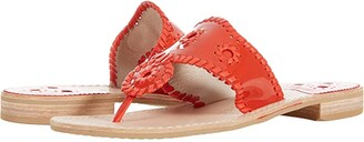 Jack Rogers Jacks Patent Leather Flat Sandal (Fire Red/Fire Red) Women's Shoes