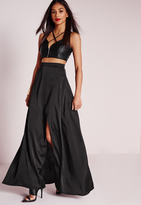 Missguided Satin Wrap Maxi Skirt Black