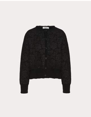 Valentino Cashmere Wool And Heavy Lace Cardigan