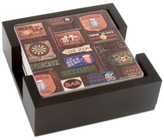 Thirstystone Coasters, Set of 4 Game Room in Dark Walnut Holder
