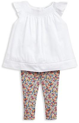 Ralph Lauren Baby Girl's Batiste 2-Piece Smocked Top & Leggings Set