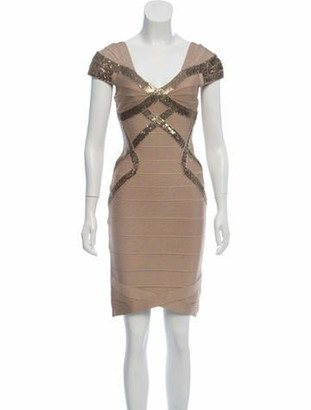 Herve Leger Sequined Bandage Dress Tan