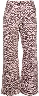 Baum und Pferdgarten Abstract-Print Cropped Kick-Flare Trousers