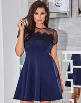 Jessica Wright Mesh Lace Trim Skater Dress