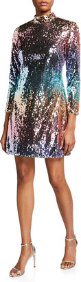Aidan Mattox Ombre Sequin Mock Neck Long-Sleeve Mini Dress