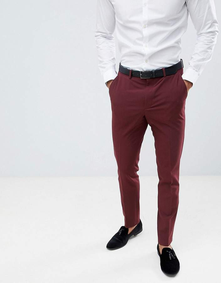 Asos Design DESIGN skinny tuxedo suit pants in burgundy