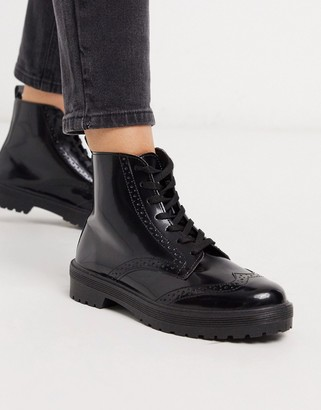 Miss Selfridge lace up boots in black