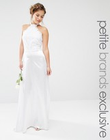 John Zack Petite Bridal Maxi Halter Dress With Lace Bodice And Sateen Skirt