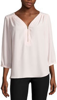 BY AND BY by&by 3/4 Sleeve Crepe Zipper Front Blouse-Juniors