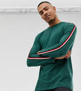 Burton Menswear Big & Tall long sleeve top with arm stripe in green