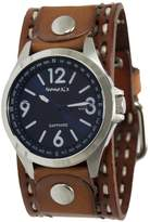 Nemesis Men's 'Sapphire' Quartz Stainless Steel and Leather Casual Watch, Color:Brown (Model: LDST251L)