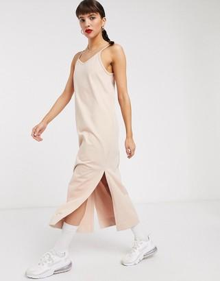 Nike premium jersey slip dress in beige