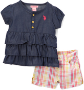U.S. Polo Assn. Dark Wash Chambray Tiered Top & Pink Plaid Shorts - Infant