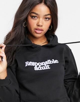 Skinnydip Skinny Dip slogan print hoodie in black