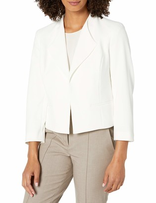 Nine West Women's Wing Collar Crepe Kissing Front Jacket