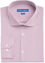 Vince Camuto Men's Slim-Fit Burgundy/White Dobby Check Dress Shirt
