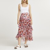 Thumbnail for your product : River Island Womens Pink floral print ruffle maxi skirt