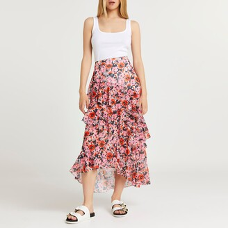 River Island Womens Pink floral print ruffle maxi skirt