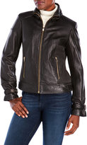 Via Spiga Ruched Side Leather Moto Jacket