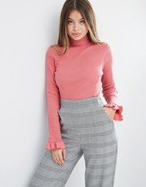 Asos Top With Turtleneck And Ruffle Sleeve