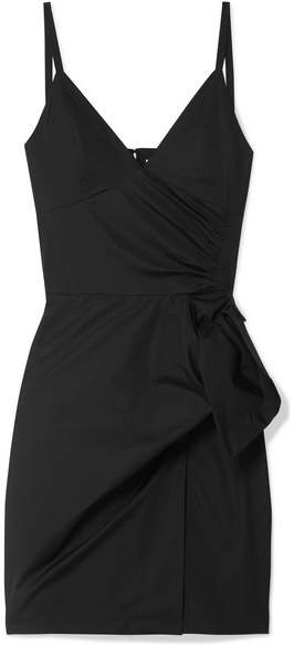 Victoria Beckham Victoria, Tie-front Cotton Mini Dress - Black