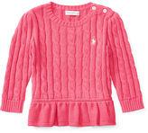 Ralph Lauren Cable Cotton Peplum Pullover