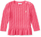 Ralph Lauren Girl Cable Cotton Peplum Pullover
