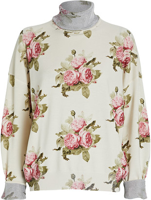 Paco Rabanne Rose Printed Mock Neck Sweater