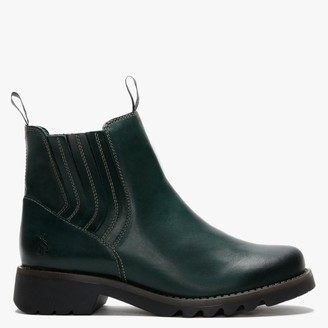 Fly London Ralt Petrol Leather Chunky Chelsea Boots