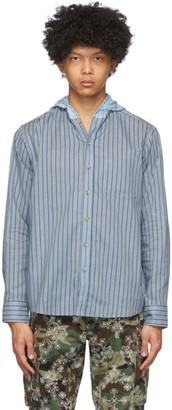 Clot Blue Contrast Tone Hooded Shirt