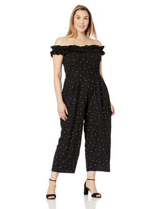 City Chic Women's Apparel Women's Plus Size Off Shoulder Solid Ruffle Detailed Slim Leg Jumpsuit