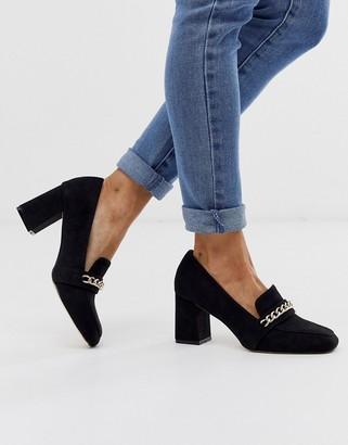 London Rebel heeled loafer shoes with gold chain